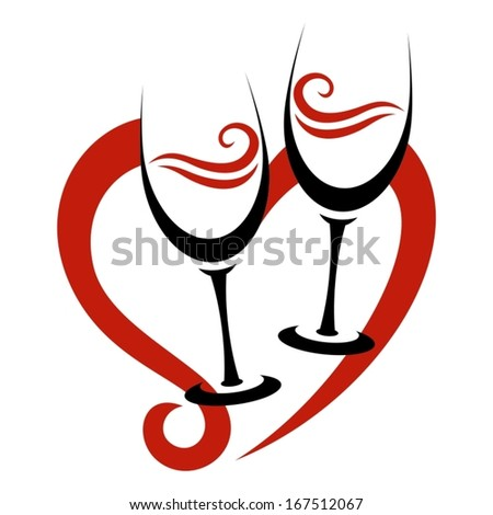Two Abstract Glasses of Red Wine & Heart - stock vector