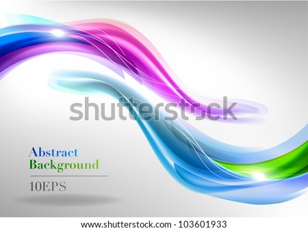 two abstract waves on the light background - stock vector