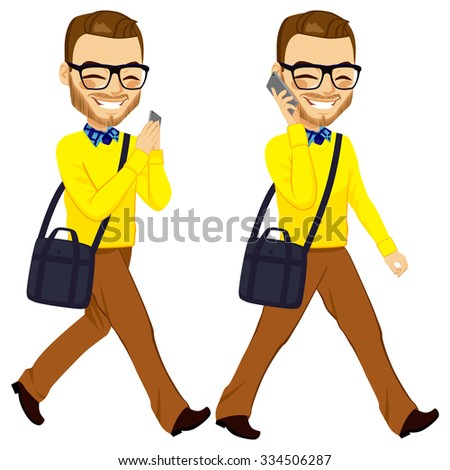 Two action happy young walking man with smartphone chatting and answering phone call - stock vector