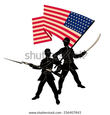 Two American soldier with the flag of the United States on white background. Happy veterans day. Vector illustration. - stock vector