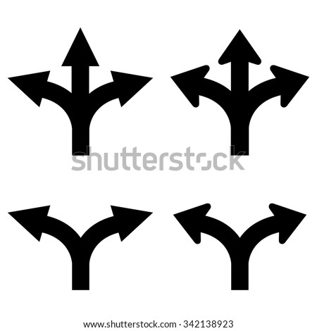 Two and three way arrows set - stock vector
