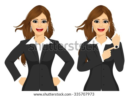 Two angry businesswomen holding hands on hip and pointing finger to her wristwatch showing the time and yelling. Arriving late concept - stock vector