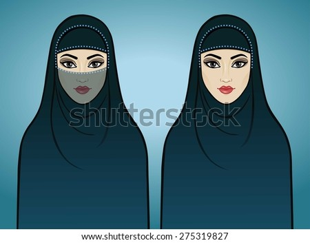 Two animation Arab girls in traditional clothes. Isolated on a blue background. - stock vector