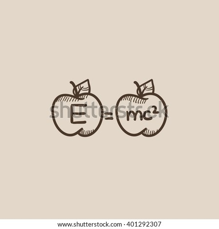 Two apples with formulae sketch icon. - stock vector