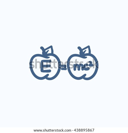 Two apples with formulae vector sketch icon isolated on background. Hand drawn Two apples with formulae icon. Two apples with formulae sketch icon for infographic, website or app. - stock vector