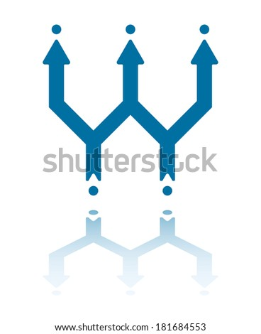 Two Arrows Deriving From Dots Turn Into Three Arrows - stock vector