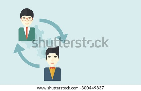 Two asian men in exchanging ideas. Partnership concept. A contemporary style with pastel palette soft blue tinted background. Vector flat design illustration. Horizontal layout with text space in - stock vector