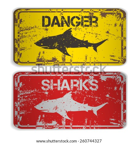 Two awarning plates with sharks. Vector illustration - stock vector