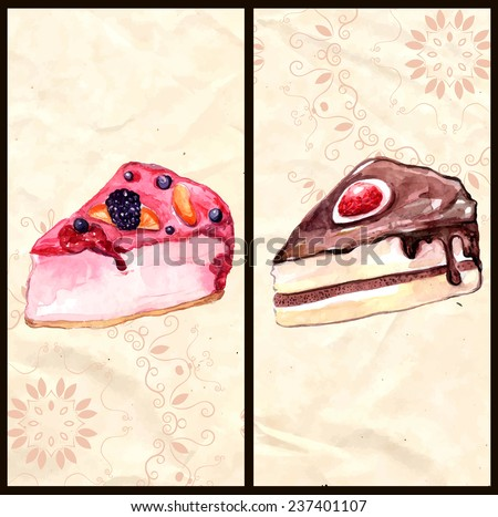 Two banners with chocolate and berry cakes. Watercolor illustrations of desserts hand drawn on vintage rumpled paper with pattern. Vector design elements for cafe or restaurant menu. - stock vector