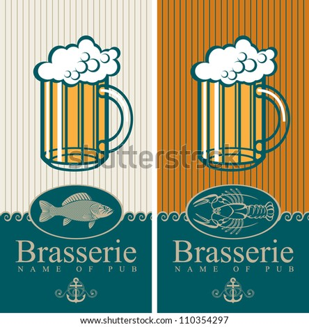 two banners with the beer and seafood - stock vector