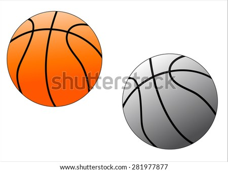 two basket balls one orange the other grey on white background - stock vector