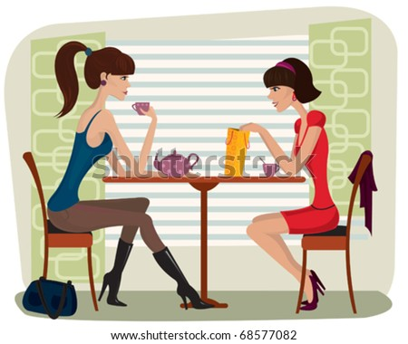 Two beautiful women in cafe - stock vector