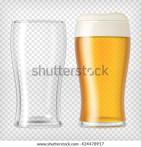 Two beer glasses. One empty mug and one full mug. Glass full with blond beer and foam. Transparent realistic elements. Ready to apply to your design. Vector illustration. - stock vector