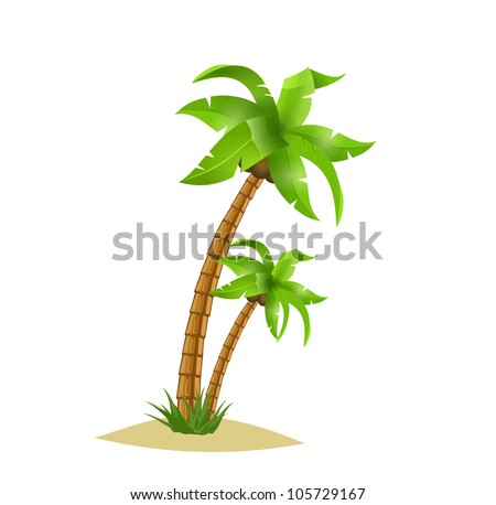 Two bend palm trees width coconuts on sand. - stock vector