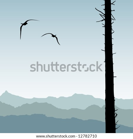 Two birds circling around cleared forestry area with one silhouetted tree still standing - stock vector