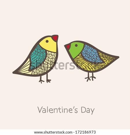 Two birds in vector - stock vector