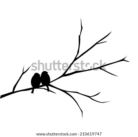 Two birds sitting on a branch vector - stock vector