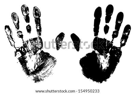 Two Black Art Hand Prints, vector grunge illustration  - stock vector