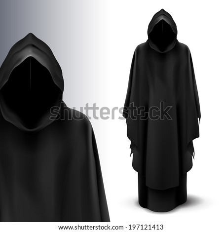 Two black figures of angels of death on gray background. - stock vector