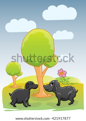 two black lamb on bright landscape background - stock vector