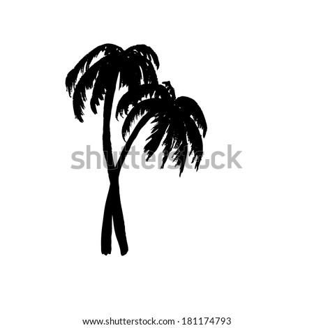 two black palm. Vector - stock vector