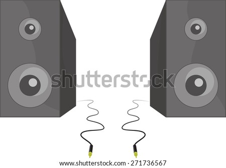 Two black shiny speakers with shadows standing beside each other with cable and connector vector illustration - stock vector