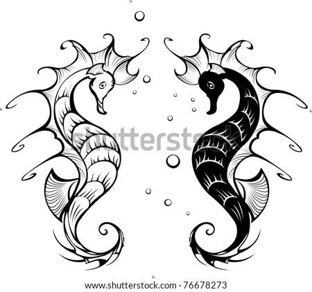 Two black silhouette stylized seahorses on a white background. - stock vector