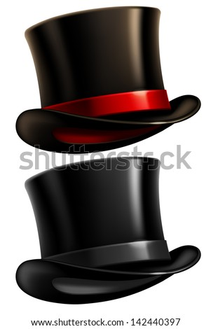 Two black top hats isolated on white background. Vector illustration. - stock vector