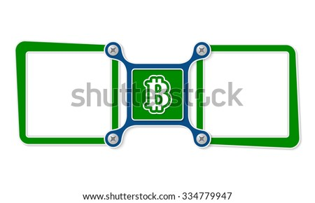 Two blank text boxes for your text and bit coin symbol - stock vector
