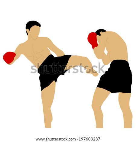 two boxers fighting with high kick - stock vector
