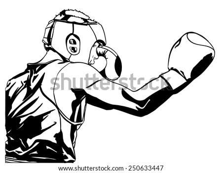 Two boxing fighter.Vector illustration. - stock vector