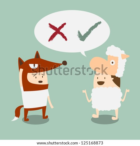 two boys in fox and lamb mascot talk about right and wrong - stock vector