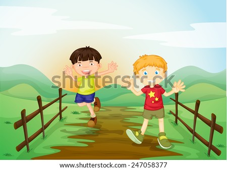 Two boys playing at the field - stock vector