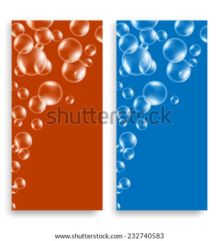 Two bright multicolored leaflets with soap bubbles and space for text - stock vector