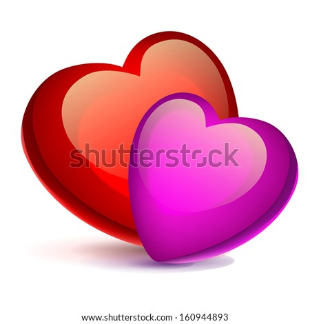 two bright red hearts on a white background - stock vector