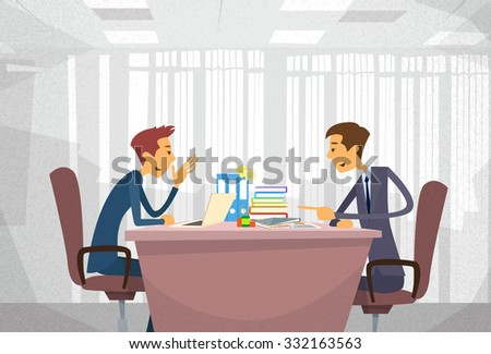 Two Business Man Talking Discussing, Businessmen Chat Sitting Office Desk Concept Communication Flat Vector Illustration - stock vector