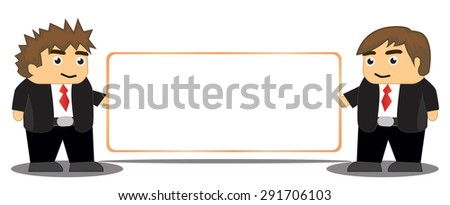 Two business man with wide whiteboard - stock vector