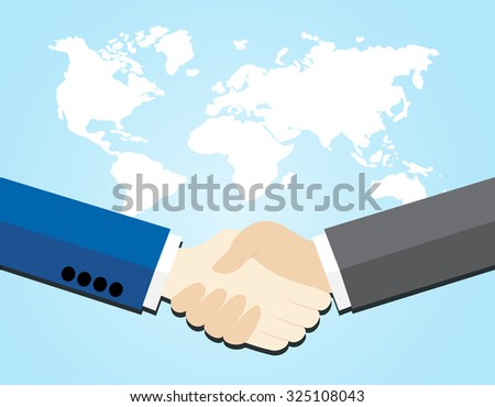 Two business men shaking hands on world map background - stock vector