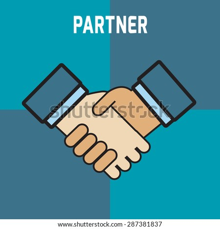 Two business partners deal and  doing handshaking.
