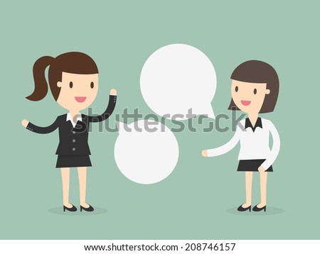 Two business women discussing - stock vector
