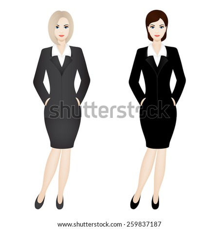 Two business women. Illustration of business women wearing grey and black office suit. - stock vector
