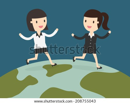 two business women running together on globe - stock vector