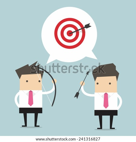 Two Businessman and one target - stock vector