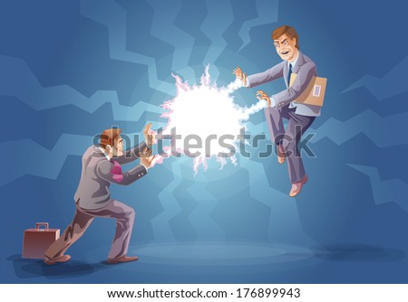 Two businessman are fighting using their super abilities.  - stock vector