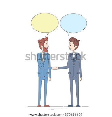 Two Businessman Hand Shake Talking Chat Box Bubble Communication Concept, Business Man Handshake Vector Illustration - stock vector