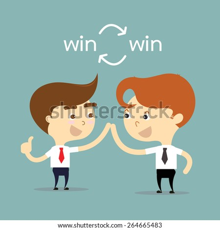 two businessman holding hands for equality of business with word win win vector - stock vector