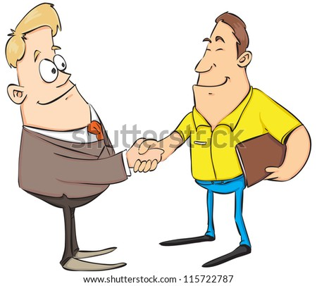 two businessman shaking hand isolated on white - stock vector