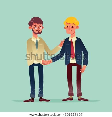 two businessman shaking hands vector illustration cartoon character - stock vector