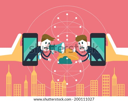 Two businessmen communicate on mobile cloud. business partnership and technology concept. illustration vector - stock vector