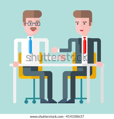 Two businessmen discussing a deal at a desk. Flat vector illustration. Lightblue background - stock vector